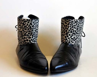1980s boots / The Animal In Me Vintage 80's Leopard Print Pixie Boots
