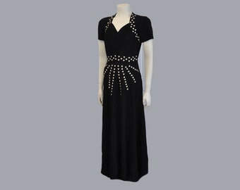 vintage dress / Hey Stud Vintage 1950's Black Crepe 40s Dress Gown