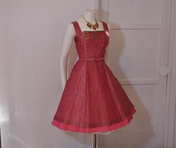 50s dress / Bollywood Darling Vintage 1950's Pink  Iridescent Full Skirt Dress