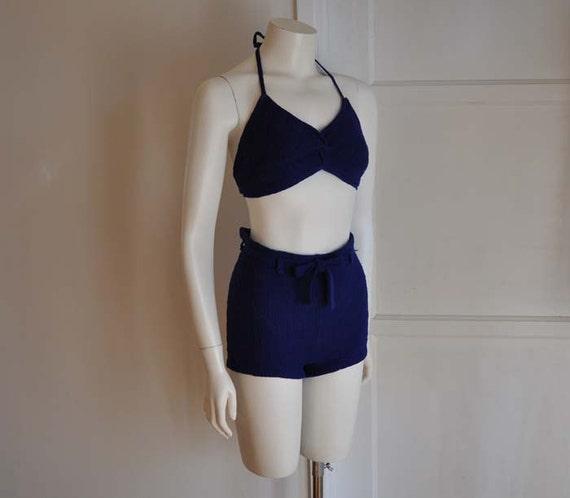 40s swimsuit / Vintage Late 30's Early 1940's Bikini Wool High Waist Two Piece Swim Suit