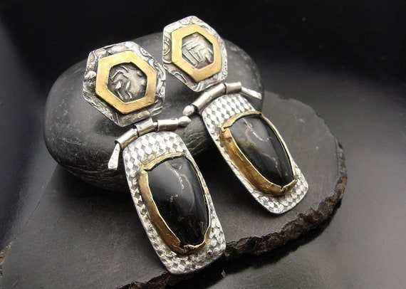 Stop It...  Sterling silver, black tiger eye and 24 gold overlay