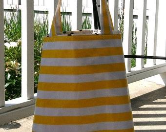 Beth's Yellow Stripes Oilcloth Market Sac Tote Bag