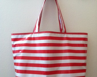 Beth's Big Red Stripes Oilcloth Market Tote bag