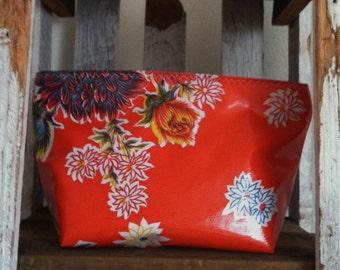 Beth's Medium Orange Mum Oilcloth Cosmetic Bag