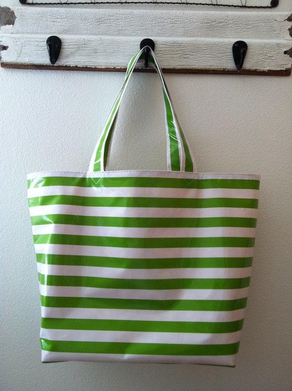 Beth's Big Green Stripes Oilcloth Market Tote Bag