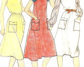 Vintage 1970s-1980s Misses Dress or Jumper Size 12 Butterick 3616 Sewing Pattern Summer 70s 80s