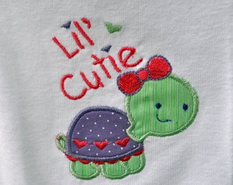 Lil' cutie fancy turtle machine applique baby onesie or child's Tshirt - name can be monogrammed on front
