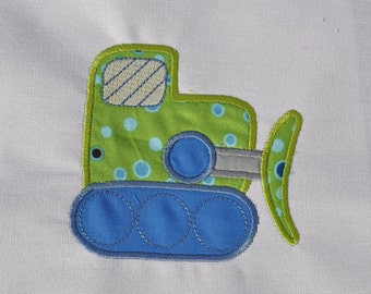 Kids bulldozer applique on Tshirt or baby onesie