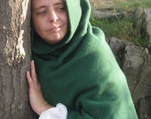 Forest Green Fleece Hood Mantle Ready to Go SCA Medieval LARP Renaissance Faire