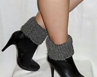 Gray Crochet Boot Cuffs, Reversible Boot Cuffs, Ankle Boot Toppers