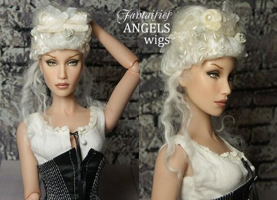 "OOAK hard cap Rococo Wig for Sybarite, JamieShow, bjd dolls -- Tibetan Lambswool & Silk ""Powdered Wig"" DUCHESS MARIE"