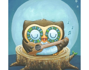 OLLIE -Owl Serenade 8x10 Art Print by Geri Shields - nursery, toddler, boy