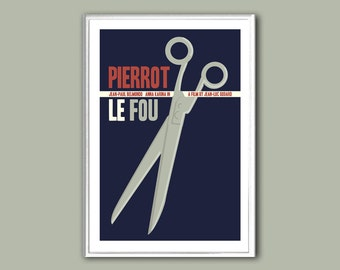 Movie poster Pierrot Le Fou retro print in various sizes