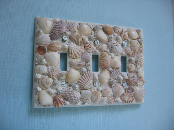 seashell light switch plate cover triple light switchplate