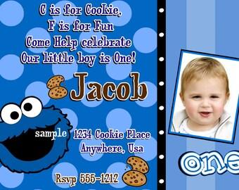 Cookie Monster Birthday Invitations, DIY Digital Printable File
