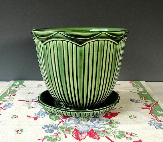 Mccoy Green Pottery Planter Vintage Ceramic Pot Mcp Mount
