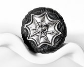 Sexy Spider Ring in Silver Toned Creepy Crawly Gothic Spiderweb in Black Polymer Clay