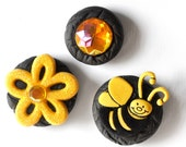 Bee Magnet Gift Set - Queen Bumble Bee and Her Golden Honey Bling Glitter Sunshine Yellow Flower in Black Polymer Clay