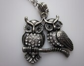Owl Necklace. Pair of Owls in Gunmetal Silver Finish.