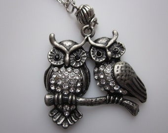 Two Owls on a Branch Necklace, Pair of Owls in Gunmetal Silver Finish Studded with Crystals