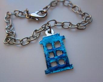 Doctor Who Blue TARDIS Silhouette Bracelet in Silver Finish