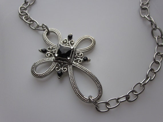 Cross necklace sideways charm connector