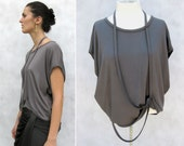 Ribbon and Fold Top - Modern Minimalist with Loop Ribbons in Dove Gray Soft Knit Jersey-Made to Order in S & XS