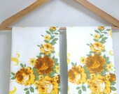 3 Pillowcases - White cotton with shabby yellow roses- Perfect for chic cottage bedding or vintage quilt squares