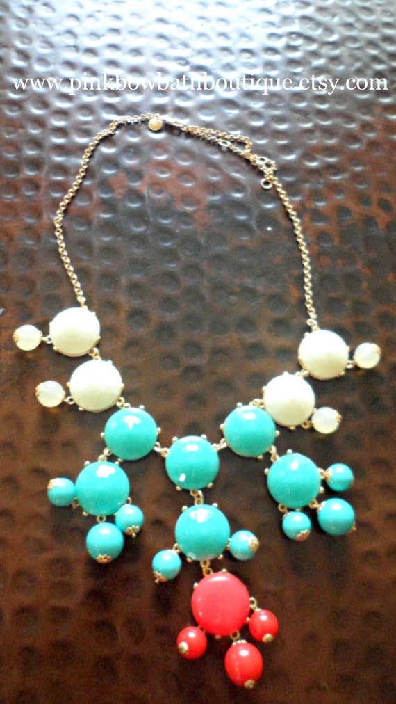 White, Teal, and Red Color Blocked Bubble Statement Necklace