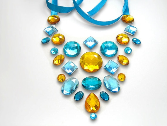Gleaming Sunshine Golden Yellow Orange and Blue Floating Rhinestone Statement Necklace, Illusion Jewelry for Formal Events and Casual Wear