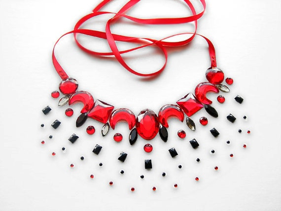 Seductive Burlesque Black and Red Floating Rhinestone Statement Bib Necklace