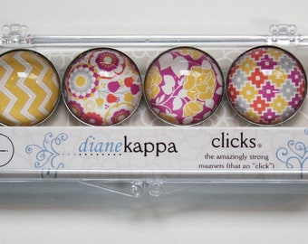 4 Pack of Amazingly Strong Magnets with Indian Summer Design