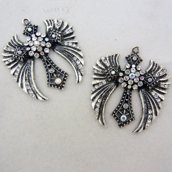 Pair of Winged Cross Charms Antiqe Silver-tone Rhinestones