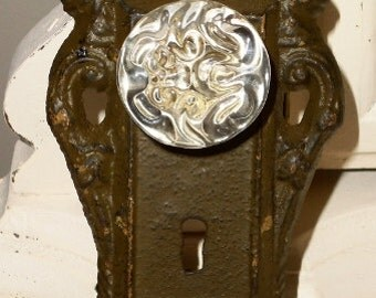 Vintage Inspired Cast Iron Brown Door Plate with Glass Knob Coat Hanger or Curtain Tie Back