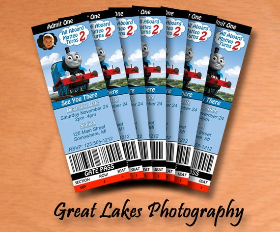 personalized thomas the train birthday ticket by greatlakesphoto