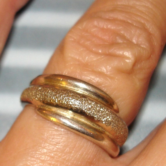 vintage pebbled sterling silver wrap around style ring