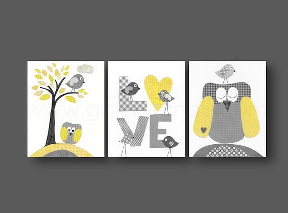 Le gris gar on chambre d cor jaune b b cr che d coration for Chambre garcon jaune et grise