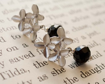 Bouquet.  Flower Bouquet Earrings with Black Celestial Crystal