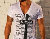 Gods of Style Deep V-Neck Hand Printed 'Sacred' T-shirt