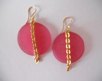 Pink resin earrings
