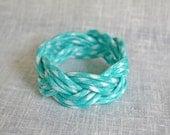 Aqua Gingham Nautical Rope Bracelet