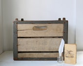 vintage 1940s wood and steel milk crate. Beatty Farm, NY. Rustic industrial home decor, storage. Christmas in July sale