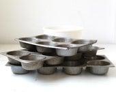 Cyber Monday SALE vintage 1910s muffin pans. Antique primitive tins, set of 3. Rustic farmhouse home decor /