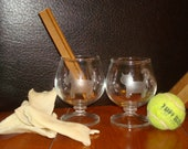Kitty and Scotty Cordial Etched Vintage Glasses