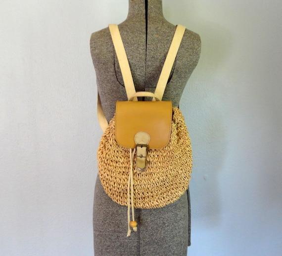 Vintage BRISBANE Backpack Purse / 1990s Mini Backpack / Raffia Bag