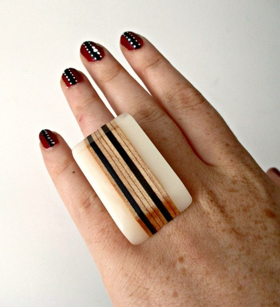 Wood Statement Ring.