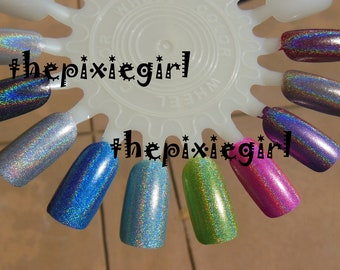 SPECTRAFLAIR HOLOGRAPHIC Top Coat Nail POLISH Lacquer in Suspension Base 5mL Mini Coarse 35-Grade Linear Rainbow