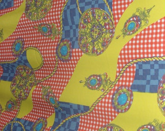 Fabric piece polyester fantasy bright colours medallions and signs