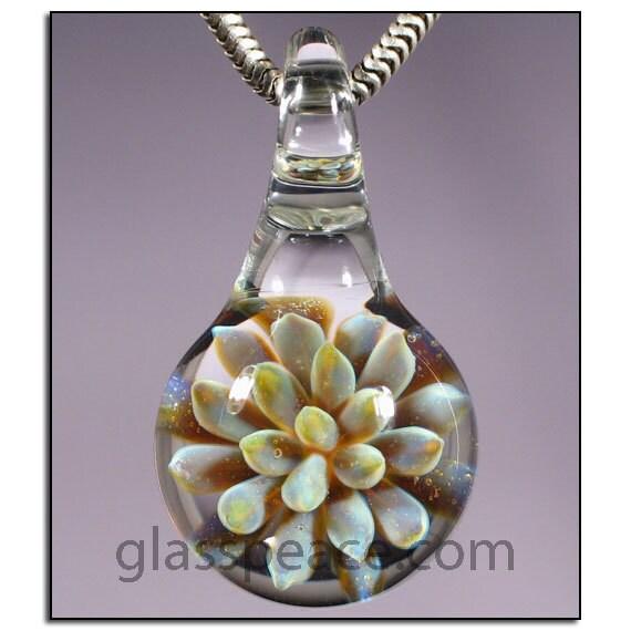 SALE - Sea Anemone Glass Pendant - Boro Lampwork Bead - Hand Blown Glass Jewelry (3247)