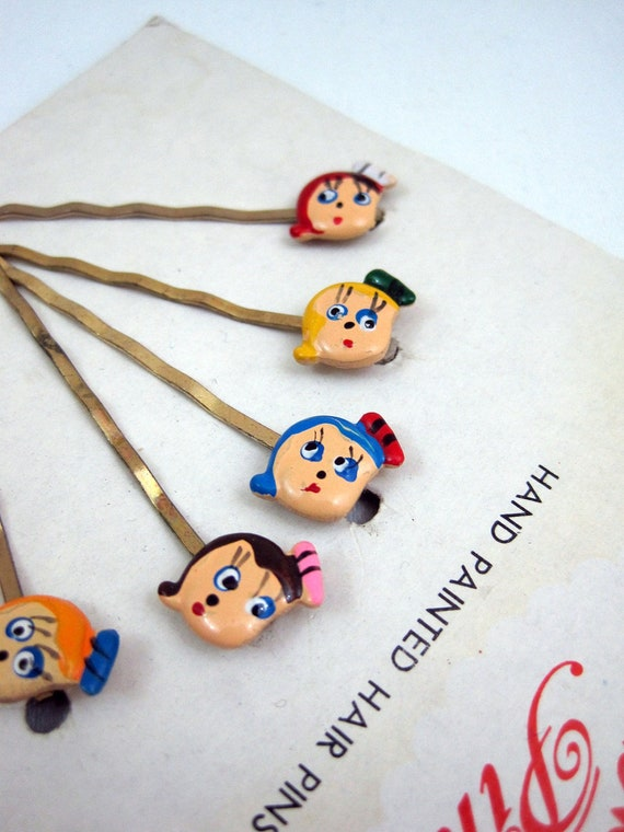 60s Hair Pins Vintage Bobby Pins with cute doll faces NOS